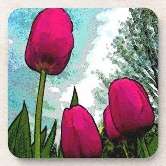 Towering Tulips Cork Coasters