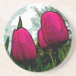 Towering Tulips Sandstone Coasters