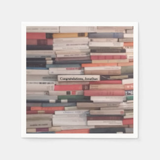 Towering Wall of Books Congratulations Custom Name Paper Napkin