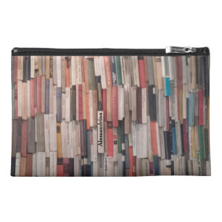 Towering Wall of Books Customizable Name Travel Accessory Bags