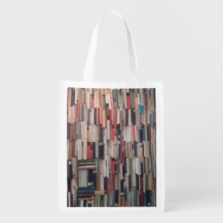 Towering Wall of Books Reusable Grocery Bag