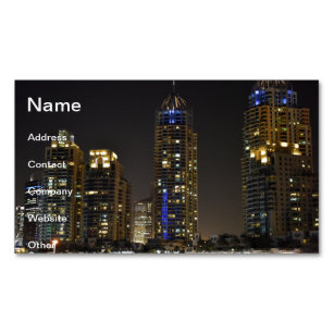 Dubai skyscraper business cards templates zazzle towers in dubai marina at night magnetic business card reheart Gallery