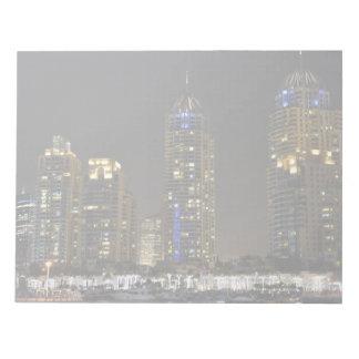 Towers in Dubai Marina at night Notepad