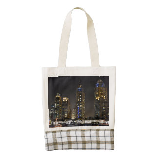 Towers in Dubai Marina at night Zazzle HEART Tote Bag