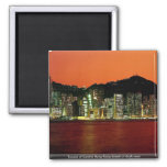 Towers of Central Hong Kong Island at dusk seen fr 2 Inch Square Magnet
