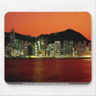 Towers of Central Hong Kong Island at dusk seen fr Mousepads