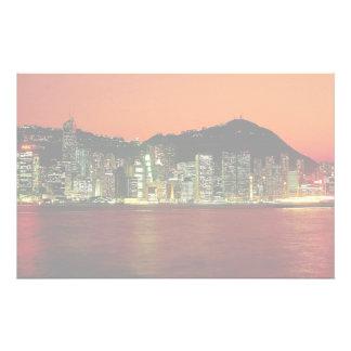 Towers of Central Hong Kong Island at dusk seen fr Stationery