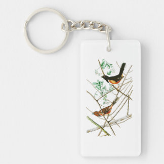 Towhe que golpea los pájaros de John James Audubon Llavero Rectangular Acrílico A Una Cara