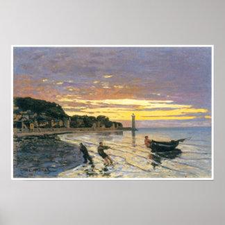 Towing a boat, Honfleur, 1864, Claude Monet Poster