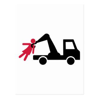 Towing car girl woman postcard