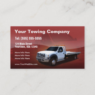 Towing Company White Truck Design Business Card