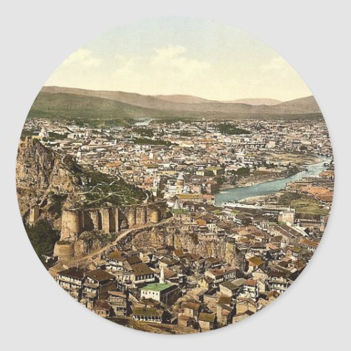 Town and fortress, Tiflis, Russia, (Tbilisi, Georg Round Sticker