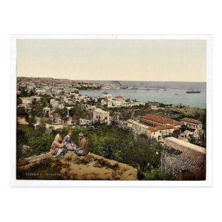 Town and harbor from St. Dimila, Beyrout, Holy Lan Postcard