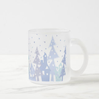 Town_blue del navidad taza de cristal