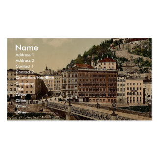 Town bridge, convent and Kapuzinerberg, Salzburg, Double-Sided Standard Business Cards (Pack Of 100)