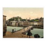Town bridge, Salzburg, Austro-Hungary rare Photoch Postcard