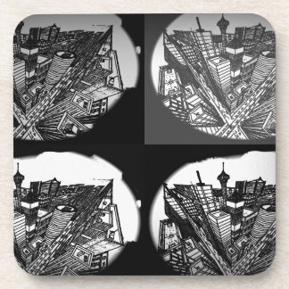 town center 3 POINT perspective black & white Beverage Coaster