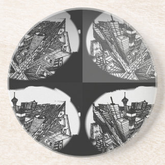 town center 3 POINT perspective black & white Coaster