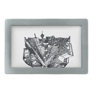 town center in 3 POINT perspective Belt Buckle