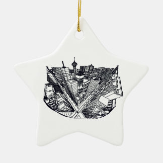 town center in 3 POINT perspective Ceramic Ornament