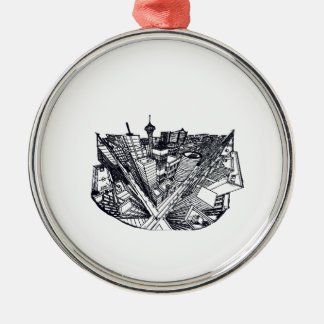 town center in 3 POINT perspective Metal Ornament