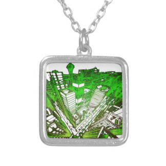 town center in 3 POINT perspective special version Silver Plated Necklace
