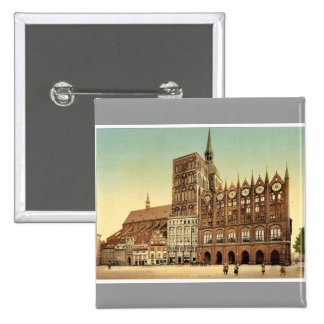 Town hall and St. Nicholas Church, Stralsund, Pomm Buttons