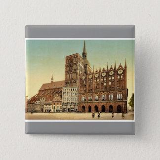 Town hall and St. Nicholas Church, Stralsund, Pomm Pinback Button