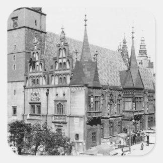 Town Hall, Breslau  Poland, c.1910 Square Sticker