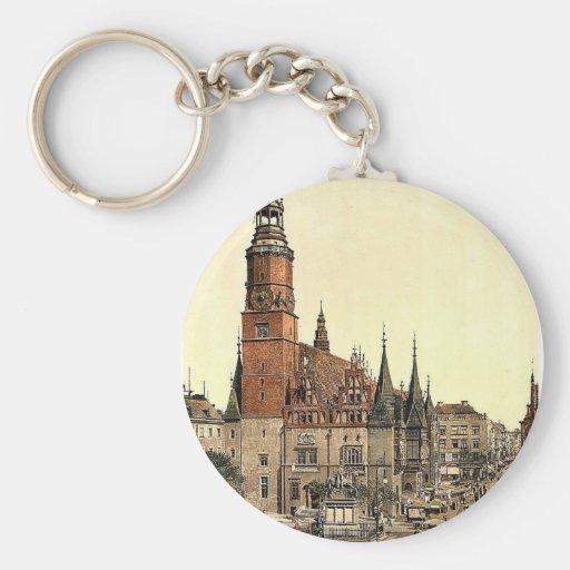 Town hall, Breslau, Silesia, Germany (i.e., Wrocla Basic Round Button Keychain