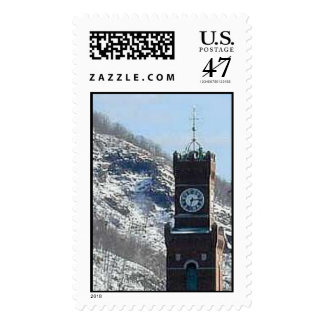 town hall clock tower postage stamp