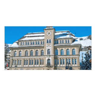Town Hall in St Moritz, Switzerland Photo Card Template