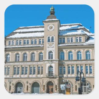 Town Hall in St Moritz, Switzerland Square Sticker