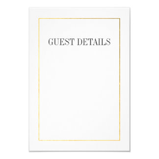 Town Hall Typography Guest Details Card