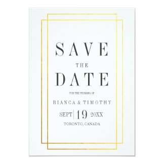 Town Hall Typography Save the Date Card