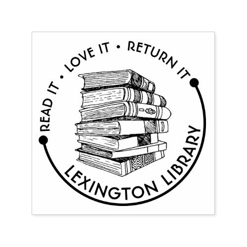 Town Library Read It Love it Return It Customize Self_inking Stamp