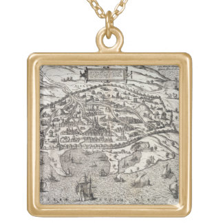 Town map of Alexandria in Egypt, c.1625 (engraving Square Pendant Necklace