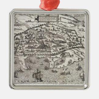 Town map of Alexandria in Egypt, c.1625 (engraving Ornaments