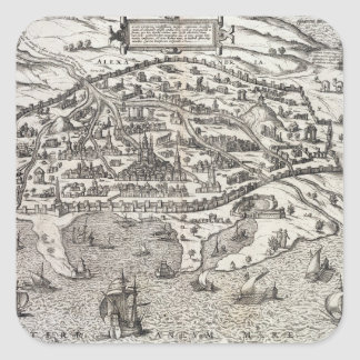 Town map of Alexandria in Egypt, c.1625 (engraving Square Sticker