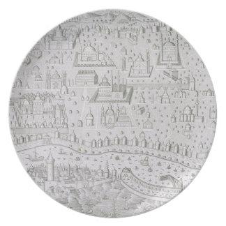 Town map of Constantinople, Turkey, c.1650 (engrav Melamine Plate