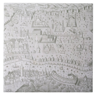 Town map of Constantinople, Turkey, c.1650 (engrav Ceramic Tile
