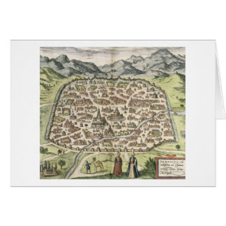 Town map of Damascus, Syria, 1620 (engraving) Card