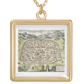 Town map of Damascus, Syria, 1620 (engraving) Square Pendant Necklace