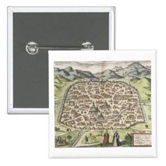 Town map of Damascus, Syria, 1620 (engraving) Pinback Button