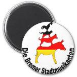 Town Musicians of Bremen 2 Inch Round Magnet