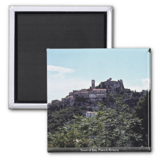Town of Eze, French Riviera 2 Inch Square Magnet