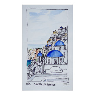 Town of Oia | Island of Santorini, Greece Poster