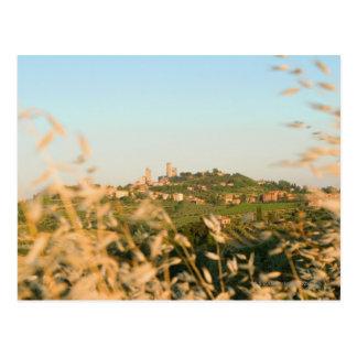 Town on a hill, San Gimignano, Siena Province, 2 Postcard