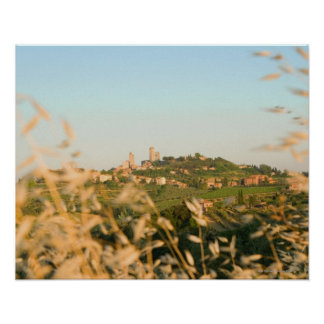 Town on a hill, San Gimignano, Siena Province, 2 Poster