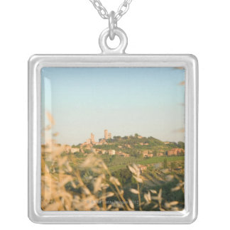Town on a hill, San Gimignano, Siena Province, 2 Silver Plated Necklace